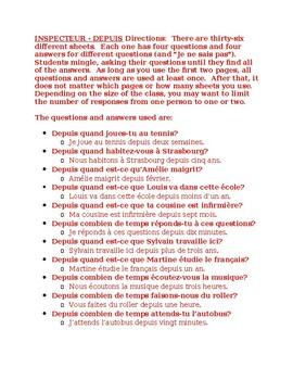 Depuis + Present tense French Inspecteur Speaking activity