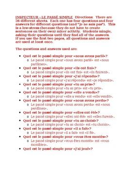 Passé Simple in French Inspecteur Speaking activity