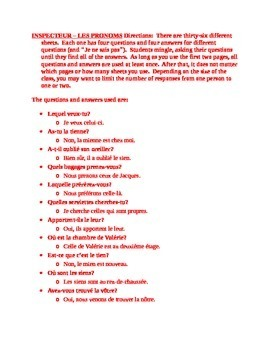 Pronoms interrogatifs, démonstratifs et possessifs Inspecteur Speaking activity