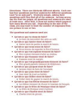 Venir de + infinitif (Passé récent in French) Inspecteur Speaking activity