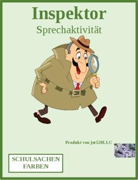 Farben (Colors in German) Inspektor Inspector Speaking activity