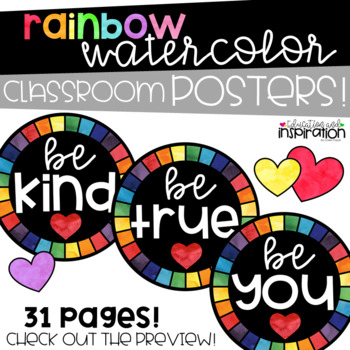 Rainbow Watercolor Classroom Decor by Education and Inspiration