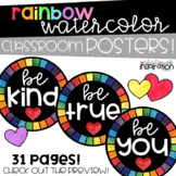 Rainbow Watercolor Classroom Poster Pack