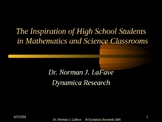 Inspiration of High School Students in Mathematics and Science