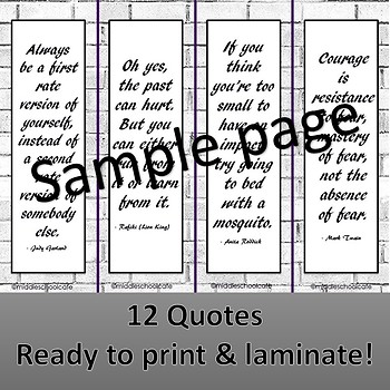 Inspirational Bookmarks for Secondary Readers