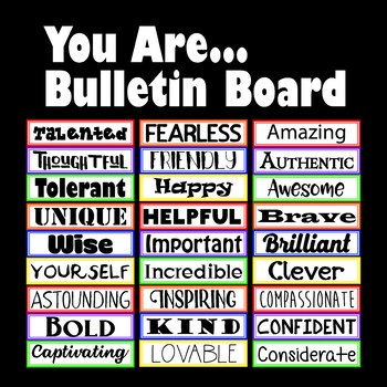 Motivational Bulletin Board or Word Wall Idea - You Are