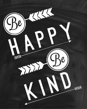 Inspirational Classroom Poster {Be Happy Be Kind}