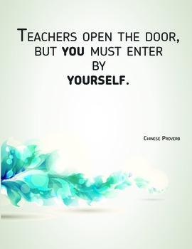 Inspirational Classroom Poster: Teachers Open Doors
