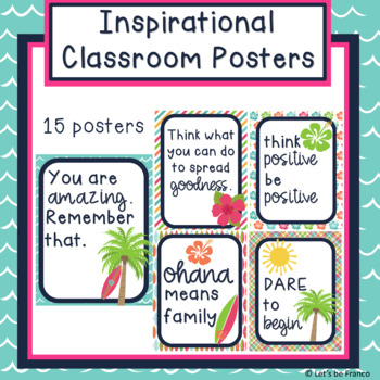 Inspirational Classroom Posters - Beach Theme