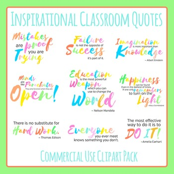 Inspirational Classroom Quotes Typography Clip Art Set for Commercial Use