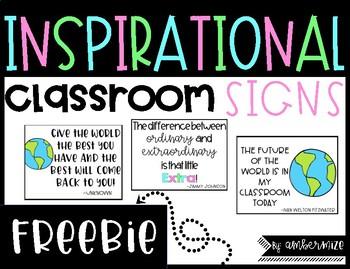 Inspirational Classroom Signs