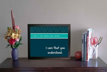Inspirational Classroom or Maker Space Poster | I Care That You Understand