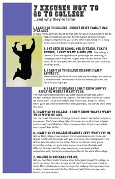 Inspirational College Poster: Reasons Not to Go to College and Why They're Lame
