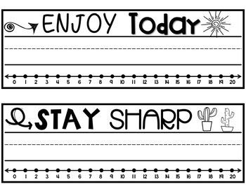 Inspirational Desk Name Plates~ with number line