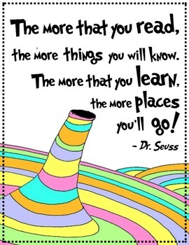 """Inspirational Dr. Seuss Quote - Poster for Classroom - """"The more you read"""""""
