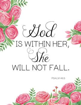 Inspirational Graduation or Mother's Day Quote: She Will Not Fall