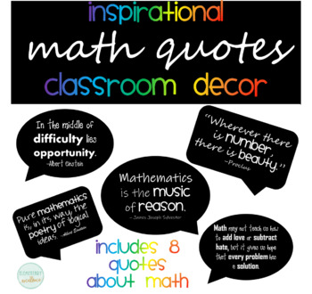 Math Quotes | Inspirational Math Quotes Posters By Elementary Excellence Tpt
