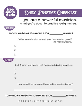 Inspirational Music Practice Checklist