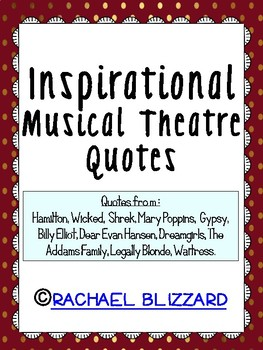 Inspirational Musical Theatre Quotes With Gold By Rachael Blizzard