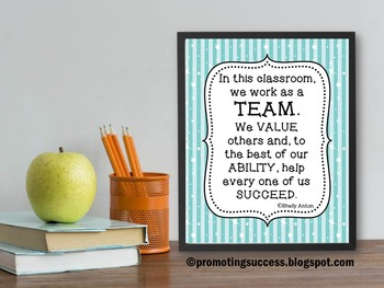 Classroom Rules Poster, Teamwork Inspirational Quote, Classroom Decor Poster