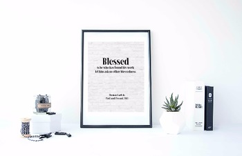 "Inspirational Poster, ""Blessed is he who has found"" -Thoma"