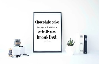 "Inspirational Poster ""Chocolate cake has eggs in it,"" -Words of Wisdom-"
