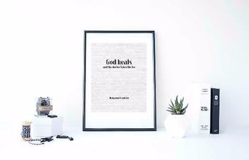 "Inspirational Poster, ""God heals,"" -Benjamin Franklin-"