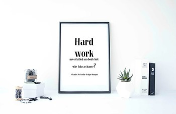 "Inspirational Poster, ""Hard work never killed anybody,"" -Charlie McCarthy-"