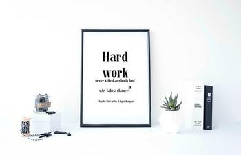 "Inspirational Poster, ""Hard work never killed anybody,"" -Charlie McCarthy-"