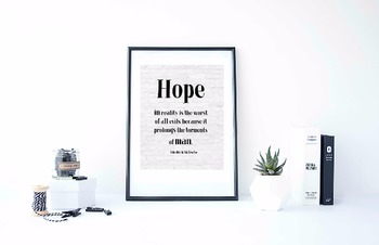 """Inspirational Poster, """"Hope in reality is the worst"""" - Friedrich Nietzsche-"""