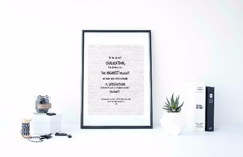 "Inspirational Poster, ""In the highest civilization"" -Ralph Waldo Emerson-"