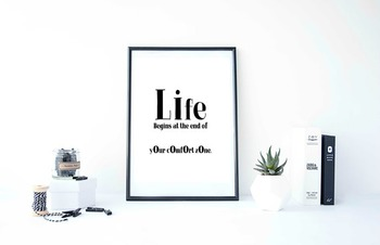 "Inspirational Poster ""Life Begins at the end of your comfo"