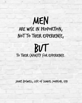 """Inspirational Poster, """"Men are wise in proportion"""" -James Boswell-"""