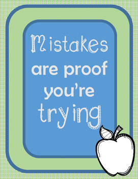 """Inspirational Poster - """"Mistakes are Proof You're Trying"""""""