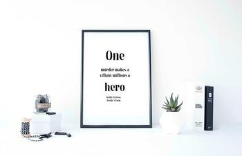 """Inspirational Poster, """"One murder makes a villain,"""" -Beilb"""