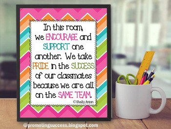 Chevron Classroom Decor Printable Poster with Inspirational Teamwork Quote