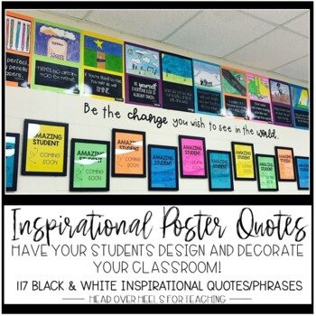 Growth Mindset: Inspirational Poster Quotes-Students Design Their Learning Space