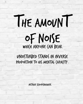"Inspirational Poster, ""The amount of noise"" -Arthur Schopenhauer-"