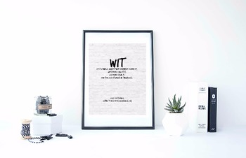 """Inspirational Poster, """"Wit is so shining a quality that everybody admires it;"""