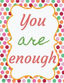 """Inspirational Poster """"You Are Enough"""""""