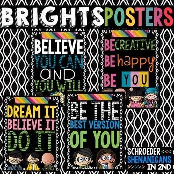 Inspirational Posters BRIGHTS on Black