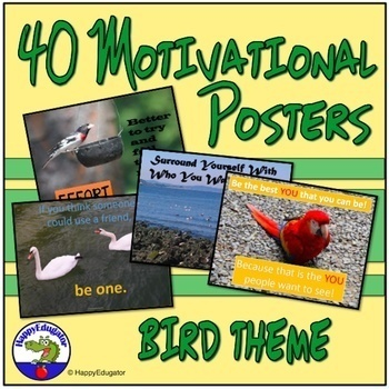 Back to School Inspirational Posters with Bird Photos BUNDLE