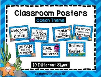Inspirational Posters - Bulletin Board - Fish Theme - Ocean Theme