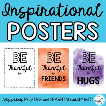 "Inspirational Posters and Classroom Decor ""Be Thankful for . . . """