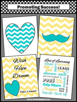 Inspirational Posters for the Classroom Teal and Yellow Decor Back to School
