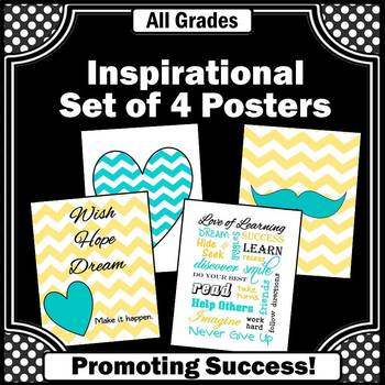 Turquoise and Yellow Decor, Inspirational Quotes Posters, Classroom Decor BUNDLE