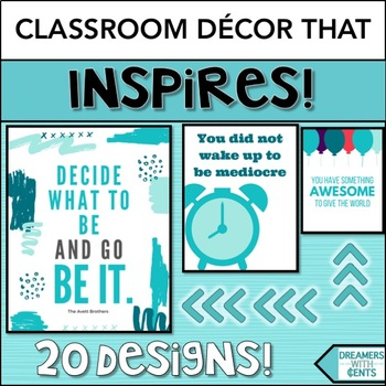 Inspirational Posters in Tropical Aqua Theme- Classroom Decor and Motivation