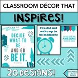 Inspirational Posters in Tropical Aqua Theme- Classroom De