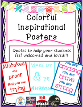 Colorful Inspirational Quotes Posters Or Anchor Charts By Whimsical