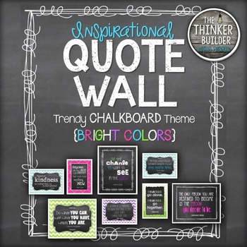 "Inspirational QUOTE WALL: ""Trendy Chalkboard"" Theme {Bright Colors}"